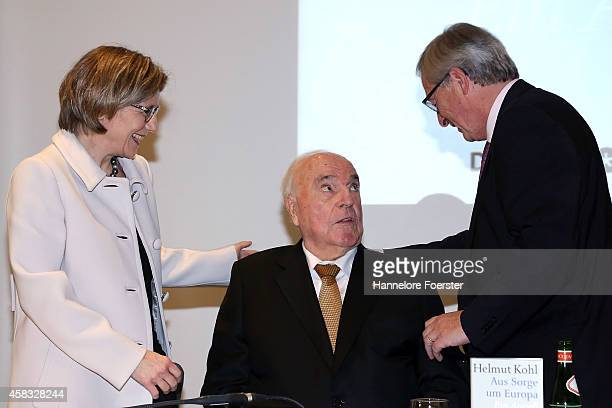 Former German Chancellor Helmut Kohl, his wife Maike Richter-Kohl and eulogist Jean-Claude Juncker, president European Commission, attend the...
