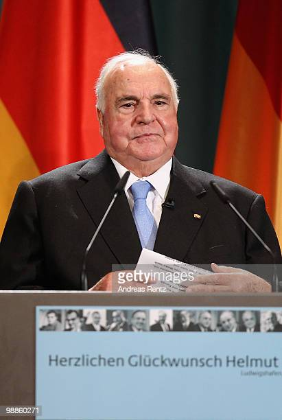 Former German Chancellor Helmut Kohl speaks to the audience during an official birthday reception to former German Chancellor Helmut Kohl at the...