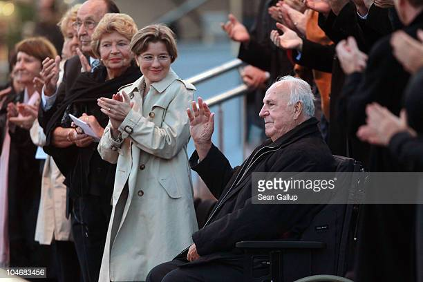 Former German Chancellor Helmut Kohl whose initiatives made German reunification in 1990 possible receives a standing ovation while his wife Maike...