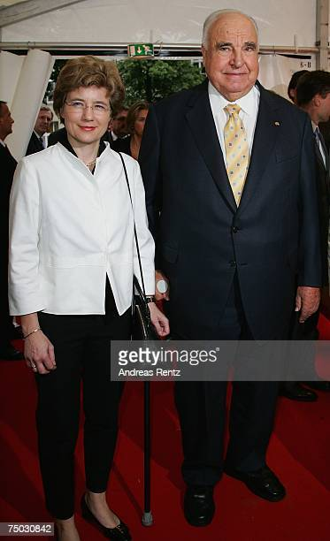 Former German Chancellor Helmut Kohl with friend Maike Richter attend the BILD and BAMS summer reception on July 4 2007 in Berlin Germany