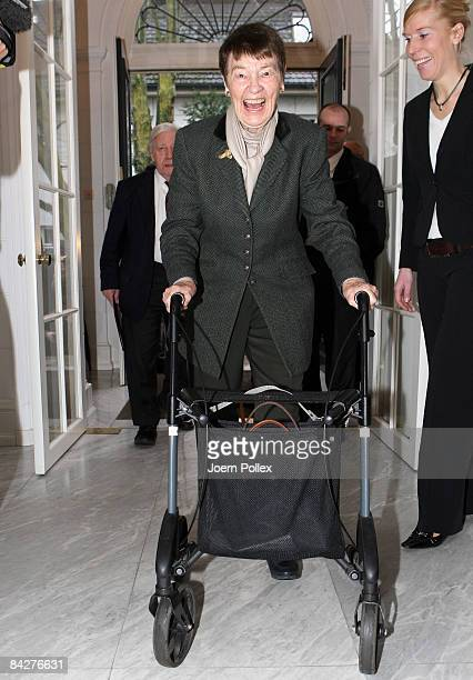 Former German Chancellor Helmut Schmidt and his wife Loki Schmidt arrive prior to the lunch to celebrate the 90th birthday of Schmidt in the...