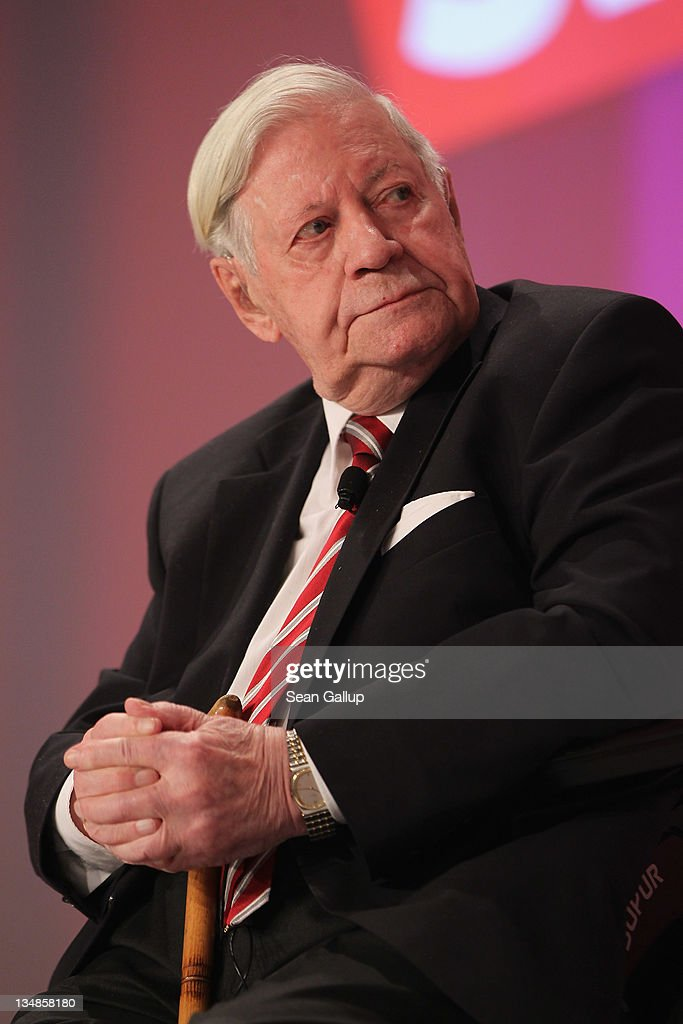 Former German Chancellor Helmut Schmidt arrives to speak at the annual federal congress of the German Social Democrats (SPD) on December 4, 2011 in Berlin, Germany. Schmidt warned against Germany taking too great a leadership role in the current Eurozone debt crisis because it might lead to Germany's increasing isolation.