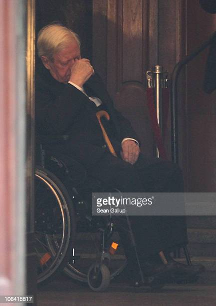 Former German Chancellor Helmut Schmidt emerges from the memorial service for his recently deceased wife Loki Schmidt at the St Michaelis Kirche on...