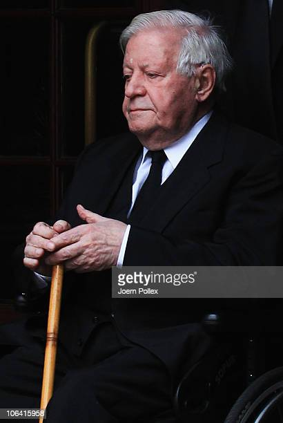 Former German Chancellor Helmut Schmidt looks on after the funeral of his wife Hannelore 'Loki' Schmidt at the St Michaelis church on November 1 2010...