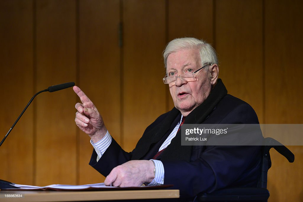 Former German Chancellor Helmut Schmidt speaks at a ceremony at the Kirchdorf/Wilhelmsburg Gymnasium high school on the day the school officially celebrated its renaming to Helmut Schmidt Gymnasium on November 5, 2012 in Hamburg, Germany. Schmidt was German chancellor from 1974 to 1982 and currently lives in Hamburg.