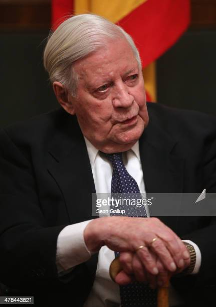 Former German Chancellor Helmut Schmidt waits to greet arriving guests at a dinner reception on the occasion of Schmidt's 95th birthday at Schloss...