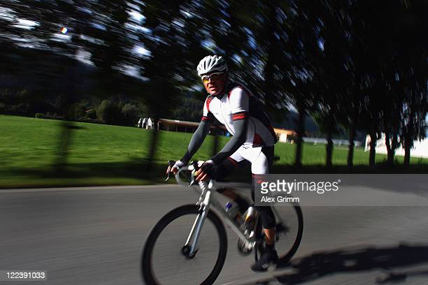 Former German cyclist Jan Ullrich competes in the Oetztaler Cycle marathon on August 28 2011 in Solden Austria