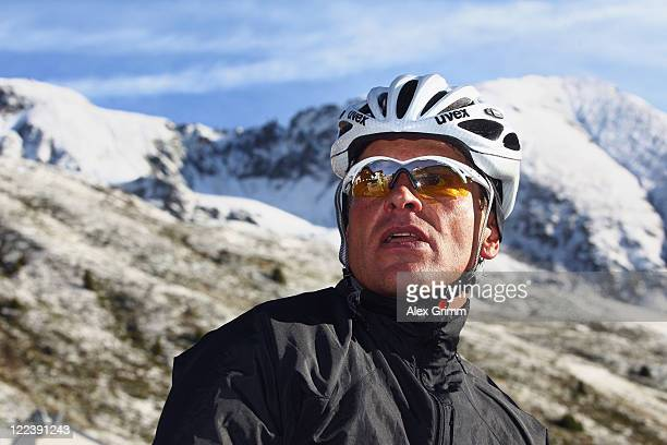 Former German cyclist Jan Ullrich looks on during a break at the Oetztaler Cycle marathon on August 28 2011 in Solden Austria