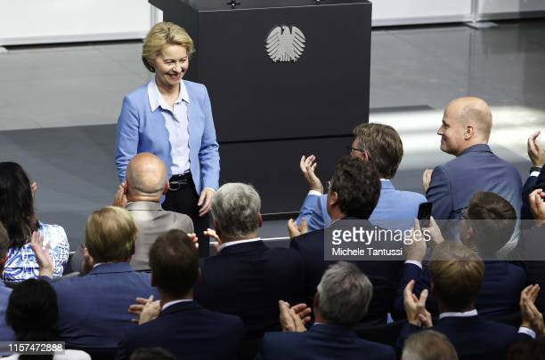 Former German Defence minister and new EU commission president Ursula Von der Leyen arrives at the SwornIn ceremony of the new defence minister in...