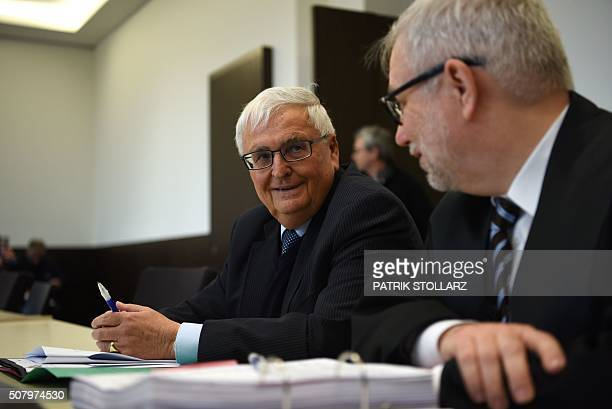 Former German FA president and exFIFA official Theo Zwanziger waits fo rthe start of his trial with his lawyer HansJoerg Metz at the regional court...