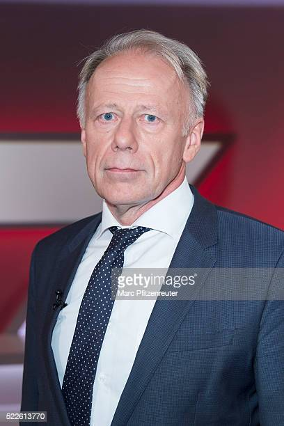 Former German Federal Minister Juergen Trittin attends the 'Menschen bei Maischberger' TV Show at the WDR Studio on April 20 2016 in Cologne Germany