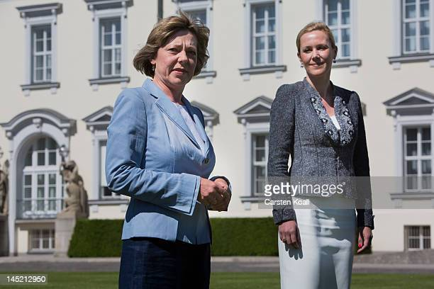 Former German First Lady Bettina Wulff officially designates current German First Lady Daniela Schadt as the new UNICEF Germany patron at a ceremony...