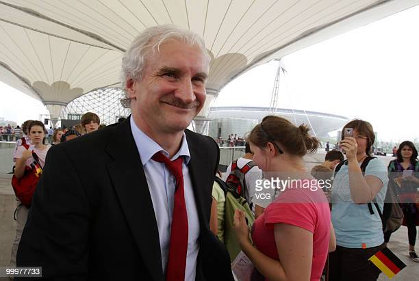 Former German football player Rudi Voeller who is now manager of Bayer 04 Leverkusen visits the World Expo Park at the national day of Germany...