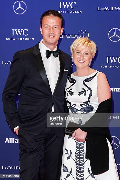 Former German footballer Fredi Bobic and his wife Britta Bobic attend the Laureus World Sports Awards 2016 on April 18 2016 in Berlin Germany