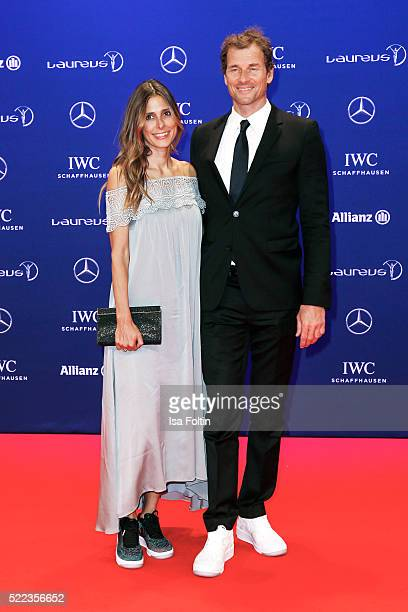 Former German footballer Jens Lehmann and his wife Conny Lehmann attend the Laureus World Sports Awards 2016 on April 18 2016 in Berlin Germany