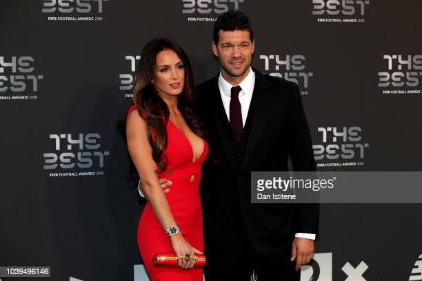 Former German footballer Michael Ballack and Natacha Tannous arrive on the Green Carpet ahead of The Best FIFA Football Awards at Royal Festival Hall...