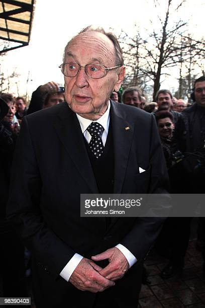 Former German foreign minister HansDietrich Genscher attends the funeral service for Wolfgang Wagner at festival opera house on April 11 2010 in...