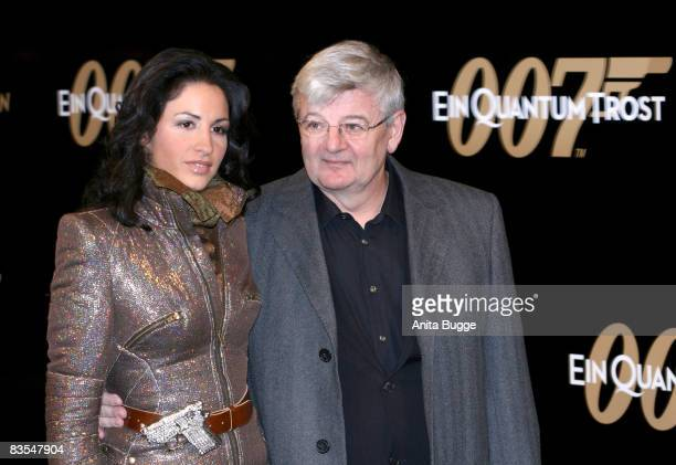 Former German Foreign Minister Joschka Fischer and his wife Minu BaratiFischer attend the Berlin premiere of 'Quantum Of Solace' on November 3 2008...
