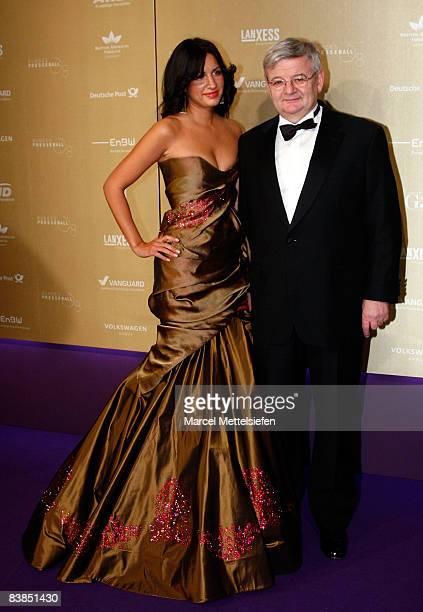 Former German Foreign Minister Joschka Fischer and his wife Minu BaratiFischer attend the annual German media ball 'Bundespresseball' on November 28...