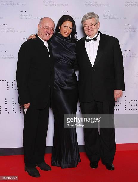 Former German Foreign Minister Joschka Fischer his wife Minu BaratiFischer and television presenter Alfred Biolek attend the Sustainability Award...