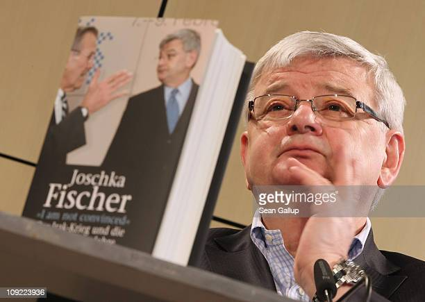 "Former German Foreign Minister Joschka Fischer presents his new book ""I Am Not Convinced"" at Akademie der Kuenste on February 17, 2011 in Berlin,..."