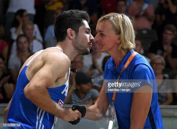 Former German long jumper Heike Drechsler congratulates Miltiadis Tentoglou of Greece on winning Gold in the Men's Long Jump Final during day two of...