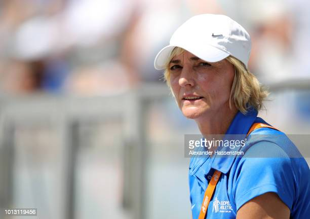 Former German long jumper Heike Drechsler looks on as she works as an official during day two of the 24th European Athletics Championships at...