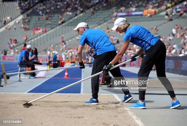 Former German long jumper Heike Drechsler works as an official during day two of the 24th European Athletics Championships at Olympiastadion on...
