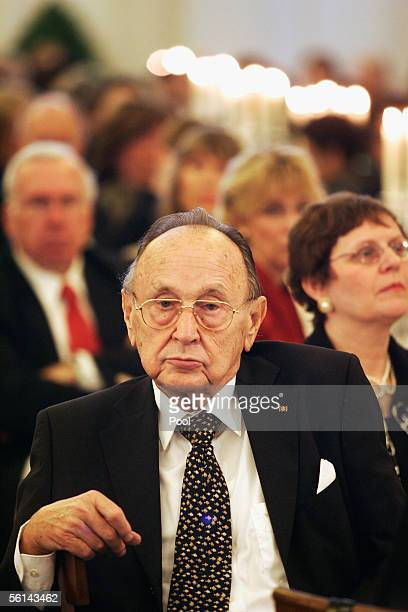 Former German minister of foreign affairs Hans-Dietrich Genscher listens at a reception at Charlottenburg Castle for Chinese President Hu Jintao on...
