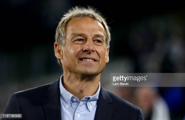Former german national coach Juergen Klinsmann is seen during the International Friendly match between Germany and Serbia at Volkswagen Arena on...