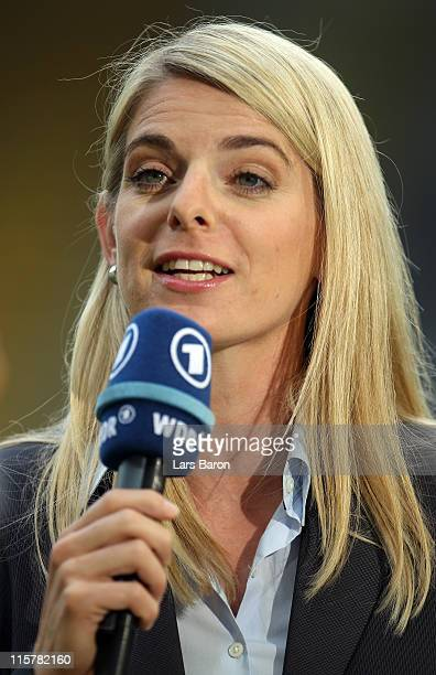 Former german national player Nia Kuenzer is seen during the Women's International friendly match between Germany and Netherlands on June 7 2011 in...
