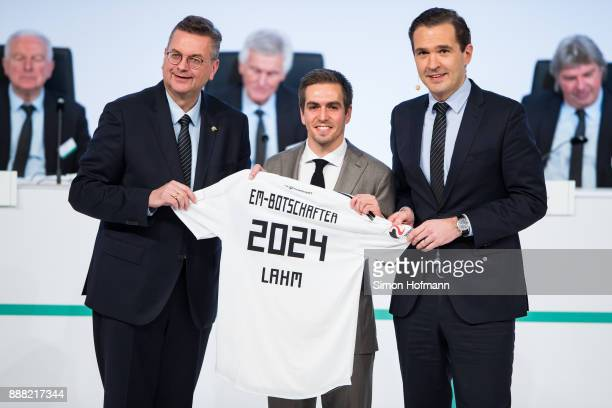 Former German national player Philipp Lahm is unveiled as ambassador of the German UEFA EURO 2024 campaign by DFB President Reinhard Grindel and DFB...