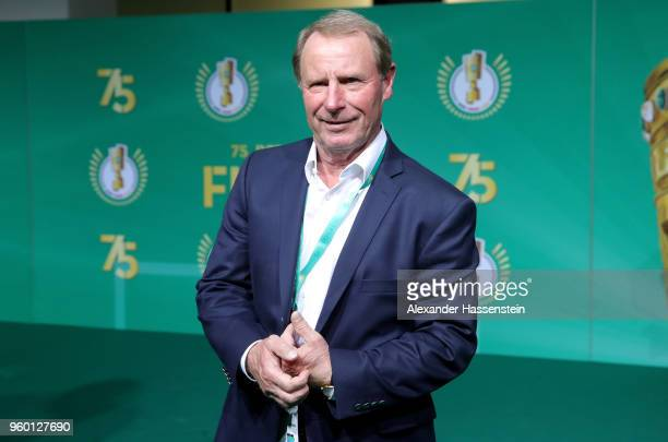 Former German national team head coach Berti Vogts poses for a photograph prior to the DFB Cup Final 2018 between Bayern Muenchen and Eintracht...