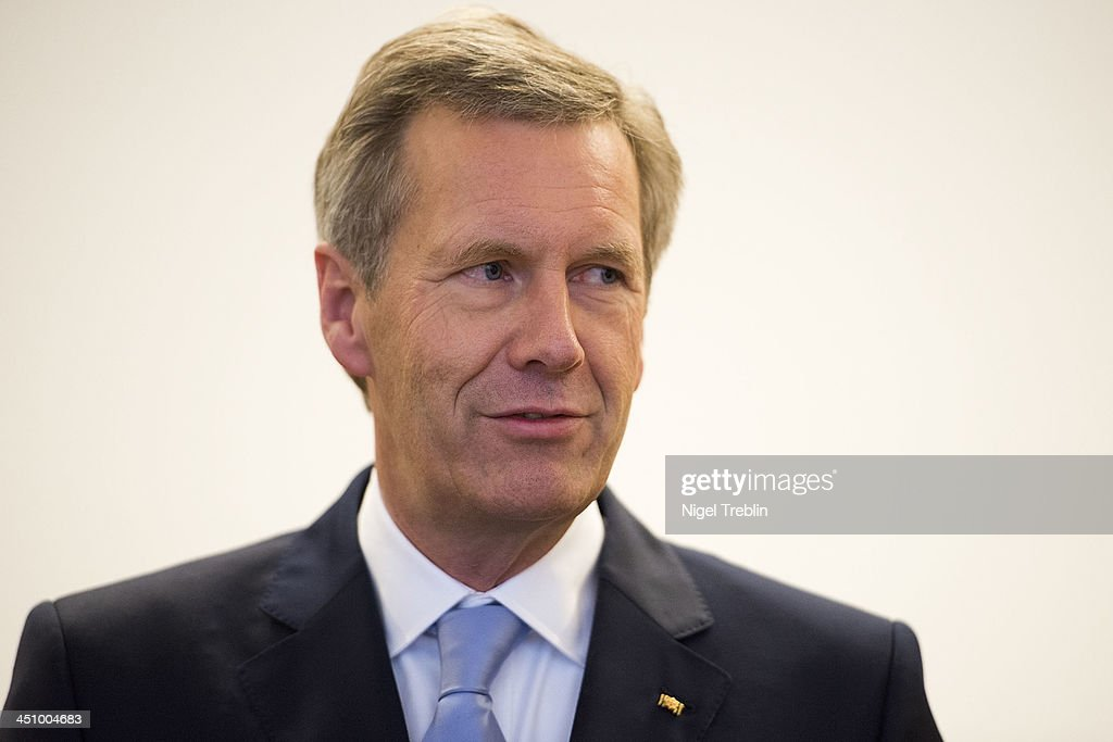 Former German President Christian Wulff waits in the courtroom at the Landgericht Hannover courthouse for the second day of his trial on November 21, 2013 in Hanover, Germany. Wulff is accused of accepting favors while he was governor of Lower Saxony, a charge that prompted him to resign last year from his office as president. Wulff is the first post-World War II German president to face a court trial.