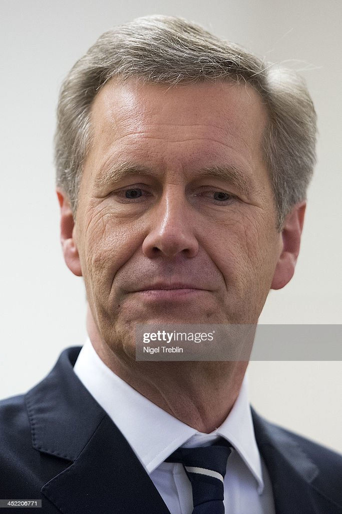 Former German President Christian Wulff waits in the courtroom at the Landgericht Hannover courthouse for the third day of his trial on November 27, 2013 in Hanover, Germany. Wulff is accused of accepting favors while he was governor of Lower Saxony, a charge that prompted him to resign last year from his office as president. Wulff is the first post-World War II German president to face a court trial.