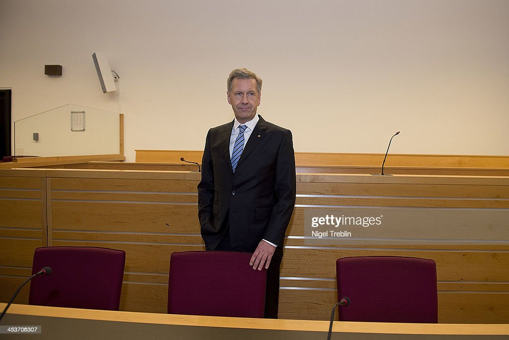 Former German President Christian Wulff waits in the courtroom at the Landgericht Hannover courthouse on December 5, 2013 in Hanover, Germany. Wulff is accused of allowing film producer David Groenewold to pay for a Munich hotel booking while Wulff was governor of Lower Saxony in exchange for Wulff's support in promoting one of Groenewold's films. Wulff is the first post-World War II German president to face a court trial.