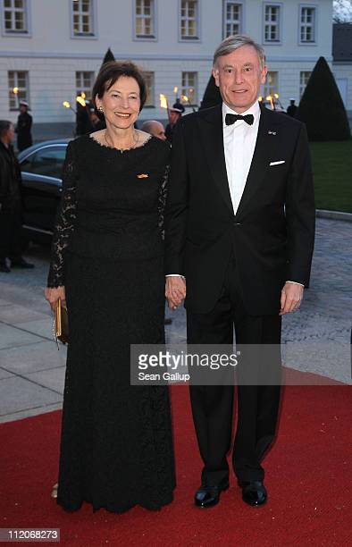 Former German President Horst Koehler and former First Lady Eva Luise Koehler arrive at a state banquet given in the honour of Queen Beatrix Prince...