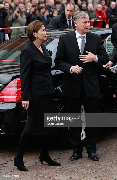 Former German President Horst Koehler and his wife Eva Luise Koehler arrive for the memorial service for Loki Schmidt wife of former German...