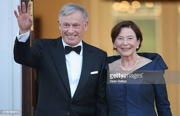 Former German President Horst Koehler and his wife Eva Luise Koehler arrive for the state banquet in honour of Queen Elizabeth II at Schloss Bellevue...