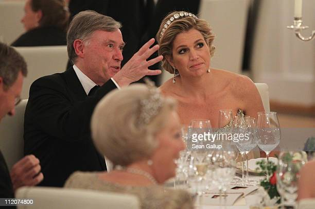 Former German President Horst Koehler and Princess Maxima of the Netherlands attend a state banquet given in honour of the visiting Dutch royals at...