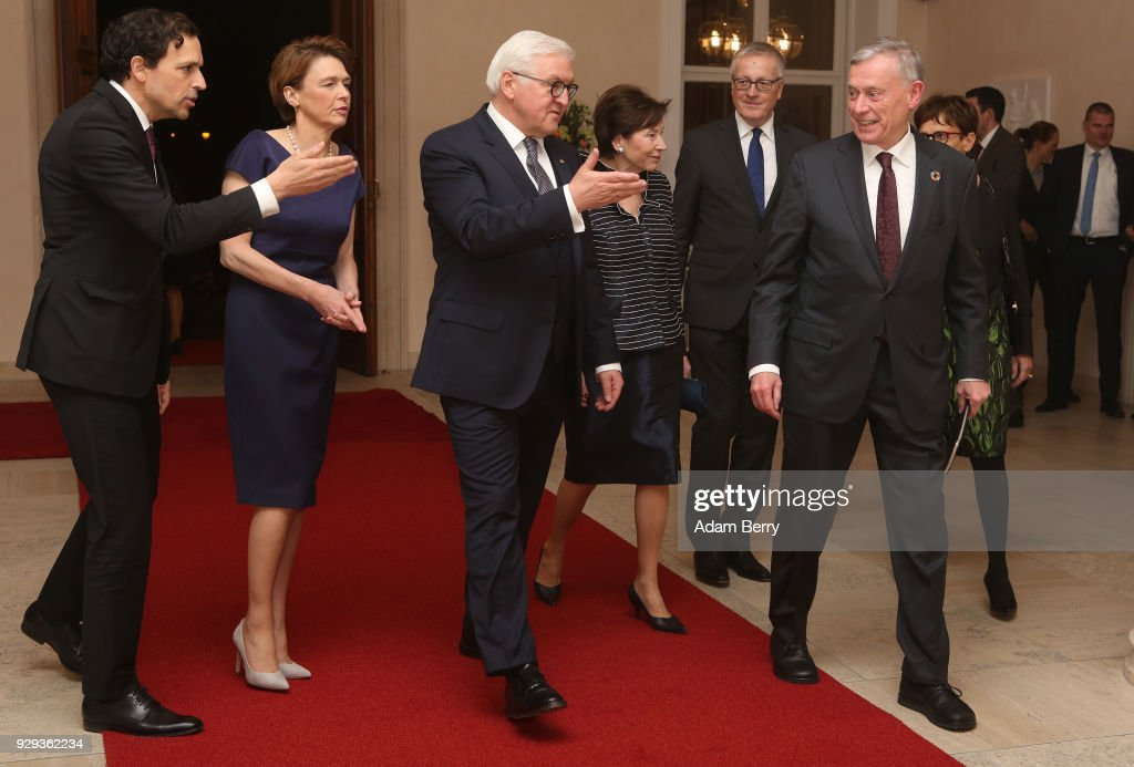 Former German President Horst Koehler (R) arrives for a dinner in his honor during his 75th birthday, next to German President Frank-Walter Steinmeier (3rd from L), Steinmeier's wife Elke Buedenbender (2nd from L) and Koehler's wife Eva Luise Koehler (4th from L), at Bellevue Palace on March 8, 2018 in Berlin, Germany. Koehler was president of Germany from 2004 to 2010.
