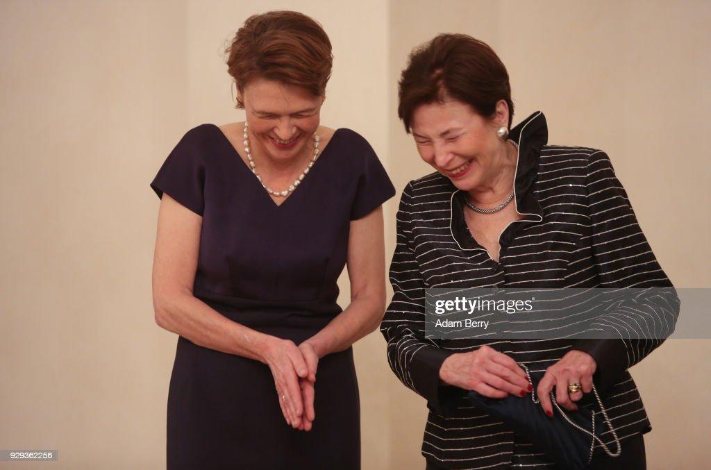 Former German President Horst Koehler's wife Eva Luise Koehler (R) and German President Frank-Walter Steinmeier's wife Elke Buedenbender attends a dinner in Koehler's honor during his 75th birthday at Bellevue Palace on March 8, 2018 in Berlin, Germany. Koehler was president of Germany from 2004 to 2010.