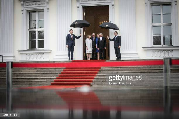 Former German President Joachim Gauck and his partner Daniela Schadt is pictured during the official handover to the newly elected Federal President...