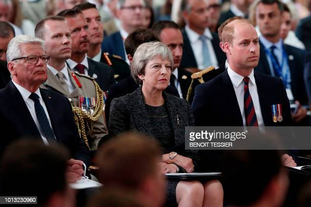 Former German President Joachim Gauck Britain's Prime Minister Theresa May and Britain's Prince William the Duke of Cambridge attend a religious...