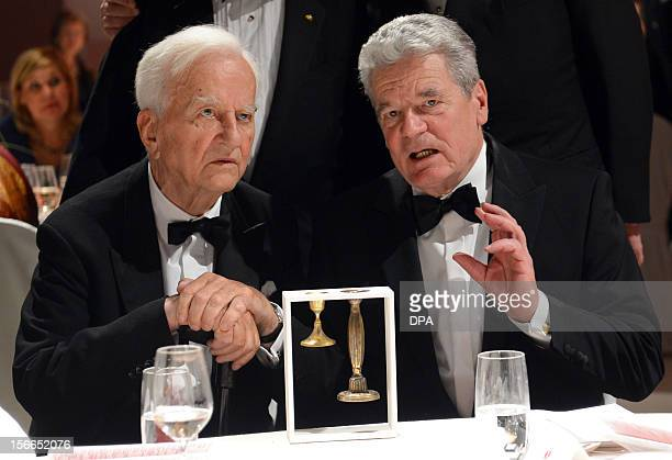Former German President Richard von Weizaecker and German President Joachim Gauck speak at the academy of the Jewish Museum in Berlin on November 17...
