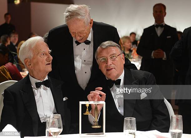 Former German President Richard von Weizaecker Director of Berlin Jewish Museum Michael Blumenthal and industry executive Klaus Mangold speak at the...