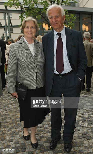 Former German president Richard von Weizsaecker and his wife Marianne von Weizsaecker attend the official opening of the new US embassy on July 4...