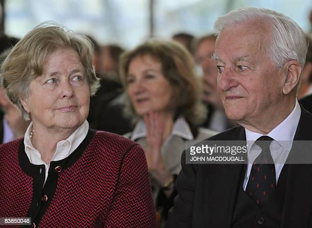 Former German president Richard von Weizsaecker and his wife Marianne von Weizsaecker attend a prize ceremony for French illustrator writer and...