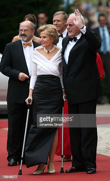 Former German President Roman Herzog and his wife Alexandra Freifrau von Berlichingen arrives for the premiere of the Richard Wagner festival on July...