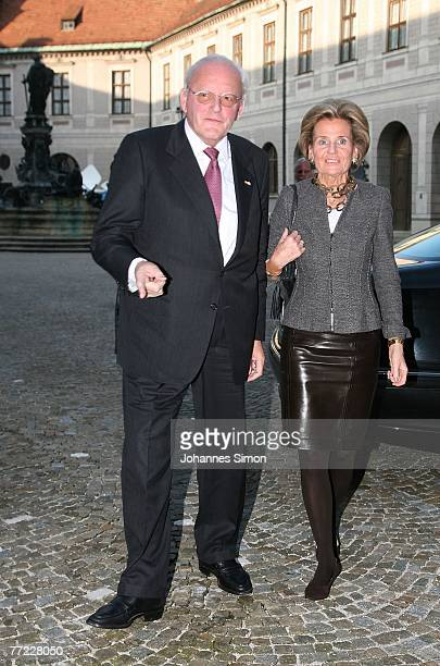 Former German President Roman Herzog and his wife Alexandra Freifrau von Berlichingen arrive to a farewell reception for Bavaria's outgoing State...